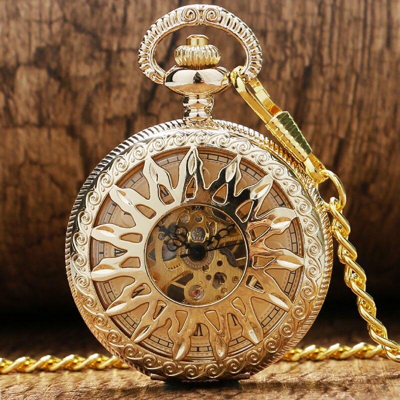 High Quality Golden/Bronze Elegant Sunflower Design Pocket Watch Women Men Mechanical Pendant Watch Chian Gift P865C golden bronze sparkle