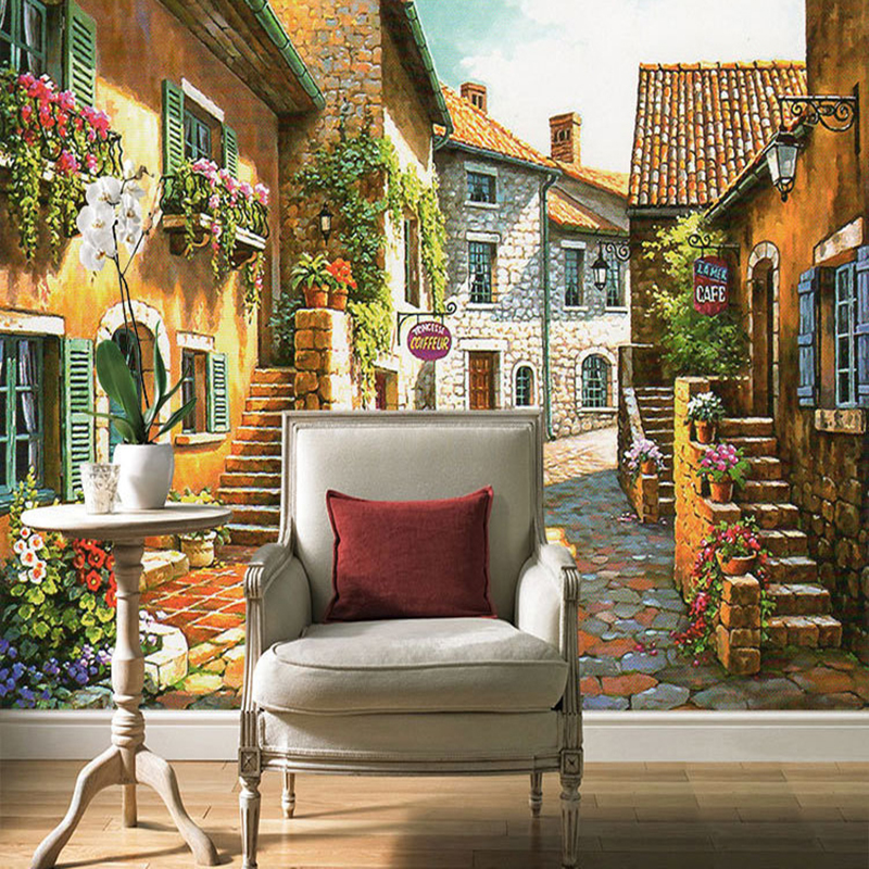 3d custom photo mural wallpaper pastoral town vintage house and road with flower wall paper for. Black Bedroom Furniture Sets. Home Design Ideas