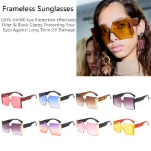 Fashion Oversize Women Square Sunglasses Brand Designer Classic Summer Style Double Colors Flat Top Frame Eyewear