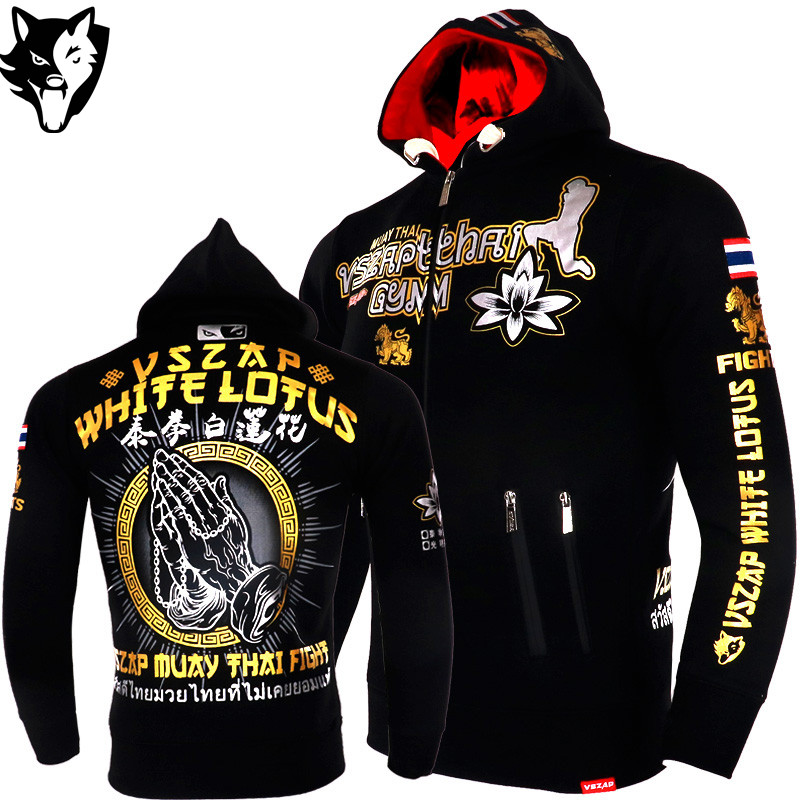 VSZAP Warm Winter Tiger Boxing T Shirt Hoodie Tracksuits MMA Clothing Breathable Cotton Fight Muay Thai