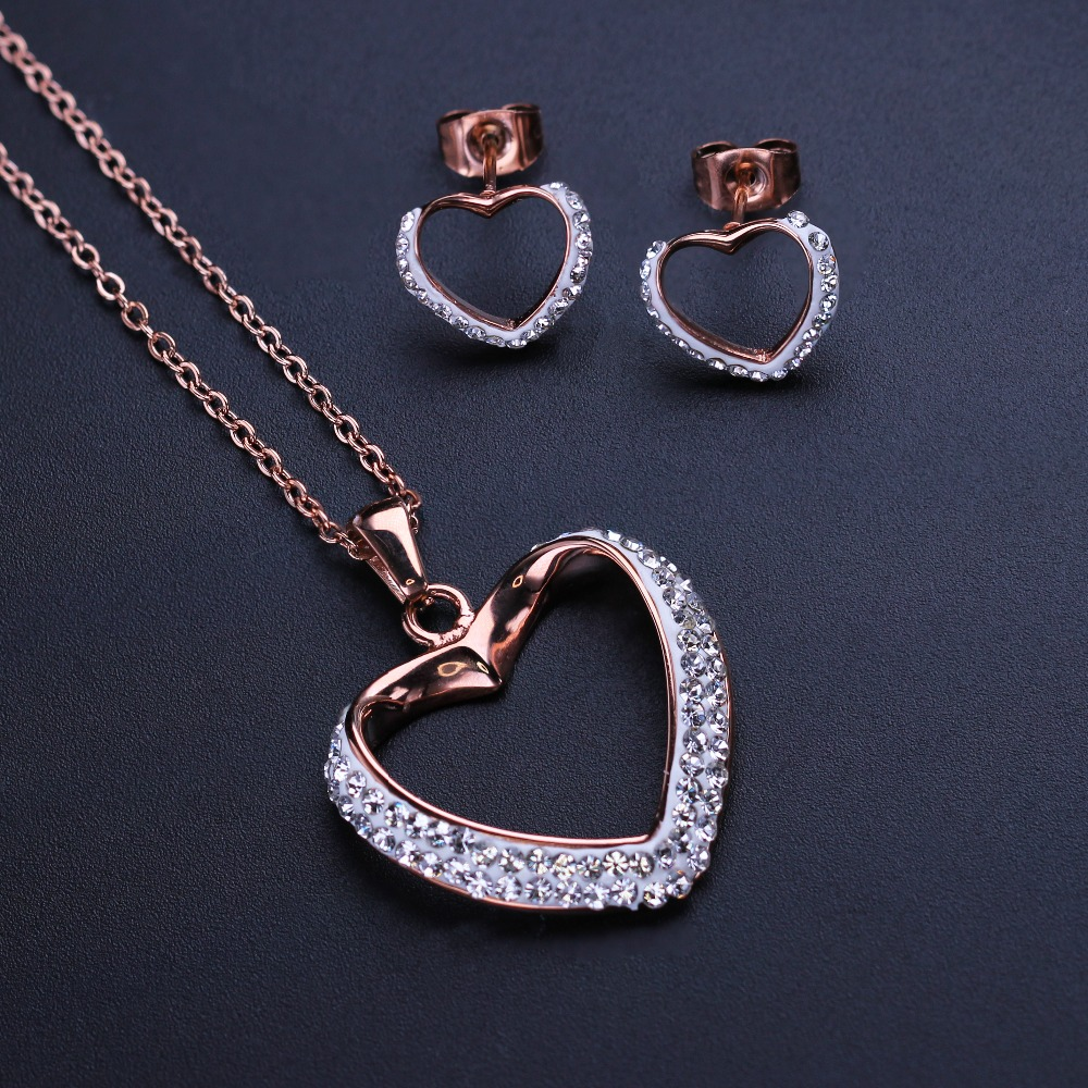 Love Heart Stainless Steel Jewelry Set Pave CZ Pendant Necklace&Stud Earrings Iced Out Link Chain Necklace for Women NESS001