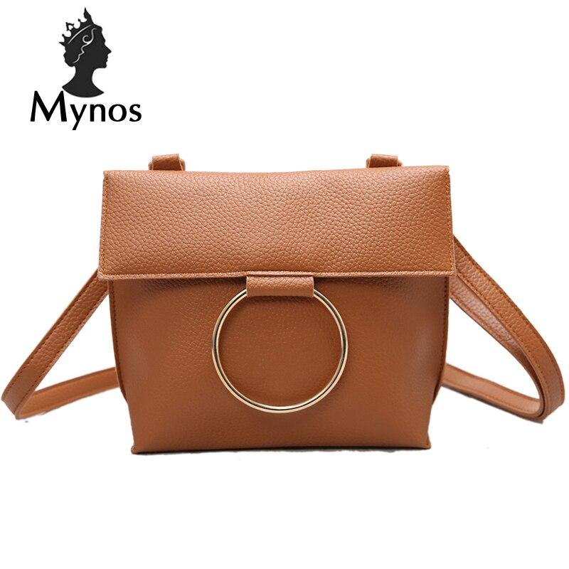 MYNOS Crossbody Diseñador de Moda Marca Mujeres Bolso de Cuero de La Vendimia Só