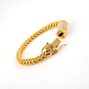 (10pcs/lot )Bling Hip Hop Jewelry 316L Stainless Steel Gold Bracelet Iced Out Miami Cuban Link Bracelet With Crystal Box Clasp
