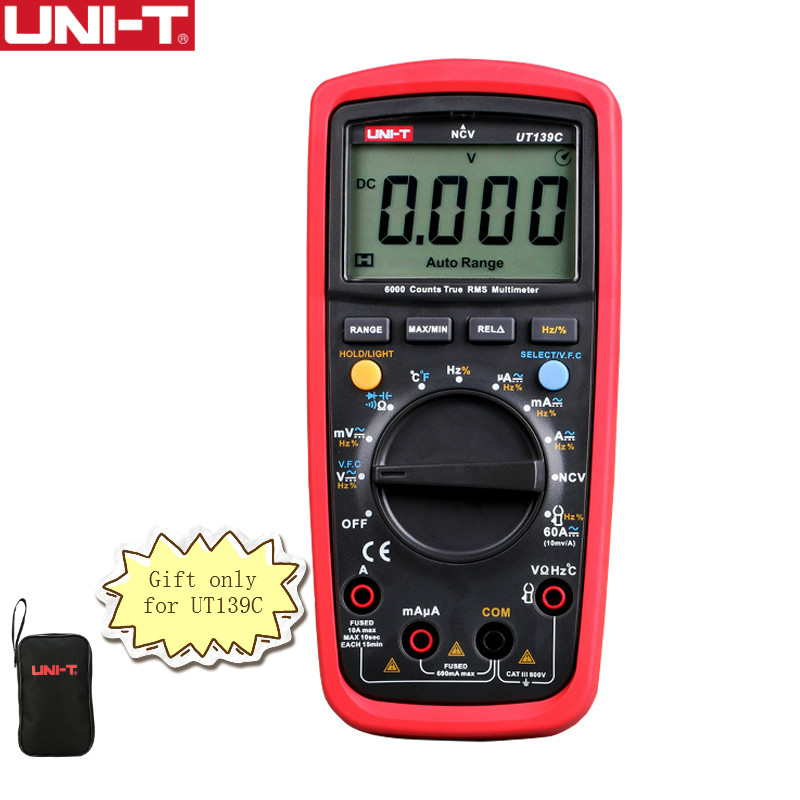 UNI-T UT139C Digital Multimeter Auto Range True RMS Meter Handheld Tester 6000 Count Voltmeter Temperature Test transistor uni t ut70b lcd digital multimeter auto range frequency conductance logic test transistor temperature analog display