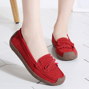 Image 5 - Women Suede Leather Loafers Women\x27s Slip\x2don Shoes High Quality Comfortable Shoes Woman Flats Sneakers Woman Schoenen Vrouw