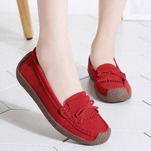 Image 5 - 여성 스웨이드 가죽로 퍼스 여성 \ x27s 슬립 \ x2don 신발 고품질 편안한 신발 여성 플랫 스니커즈 여성 schoenen vrouw