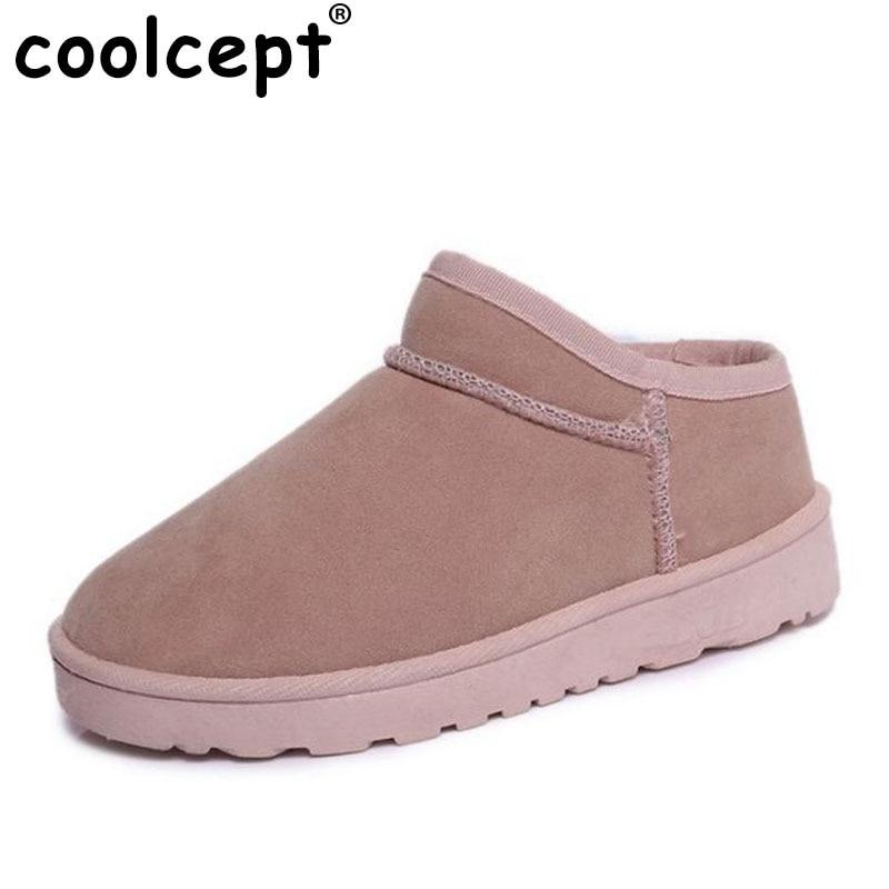 Coolcept  Women Short Ankel Boots Warm Fur Flats Boots Cold Winter Shoes Thick Fur Boots Short Botas Women Footwears Size 36-40