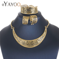 AYAYOO Jewelry Sets Vintage Bridesmaid Ethiopian Jewelry Dubai Gold Color Choker Jewelry Set For African Wedding