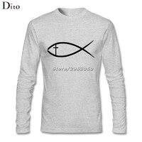 ישו דגים נוצריים גברים זכר סמל עוצב שרוול ארוך בסיס חולצת הטריקו יום אב משפחה מותאמת אישית טי חולצות