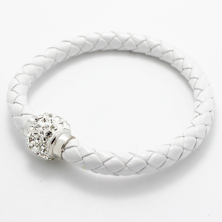LNRRABC Handmade Magnetic Crystal Rope Chain Charm Women Bracelets Men Leather Buckle Bangle Wristband Rhinestones Jewlery