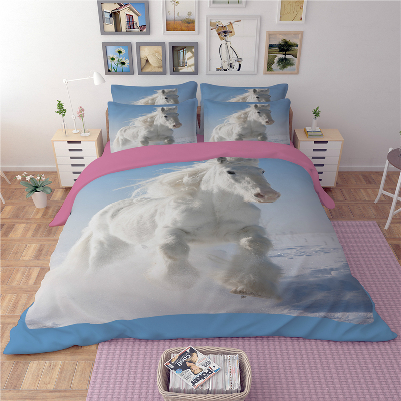 Printed Bed Linen White Horse Bedding Set Single Twin Queen King Size 3/4PC Soft Home Textile Kids Home Decor 500TC Pillow Cases