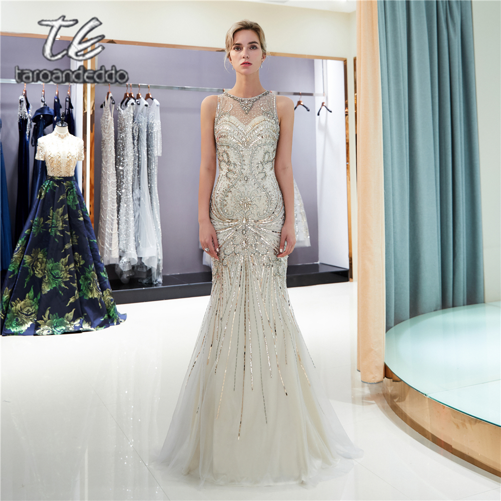 Scoop Mermaid Light Grey Tulle   Prom     Dresses   Illusion Zipper Keyhole Back Beading Crystals Evening Formal Party   Dress