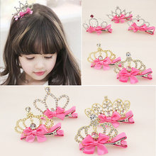 New Arrival Baby Girls Children Shiny Crown Rhinestone Hairpins Princess Ribbon Bow Crystal Hair Clip Pearl Barrette Accessories(China)