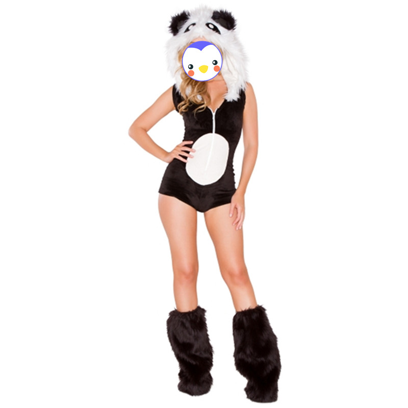 Newest halloween Adult Female Animal Panda Costume For Women Black Sleeveless Panda Cosplay Costume