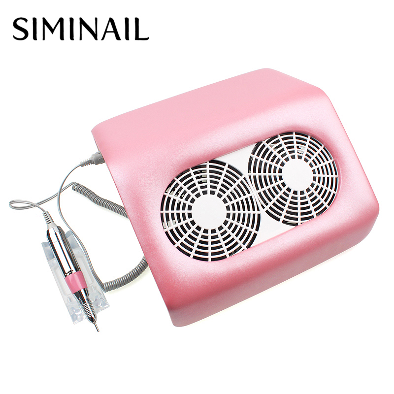 SIMINAIL 48W Nail Dust Collector Nail <font><b>Fan</b></font> Art Salon Suction Vacuum Cleaner Machine Two <font><b>Fans</b></font> with Nail Drill 2 <font><b>Fan</b></font> image