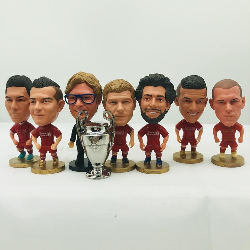 Soccerwe Salah Mane Gerrard Firmino Klopp Shaqiri Doll LIVER#POOL Football Team 2019 Red Kit Figurine 2.6 Inches Height Resin