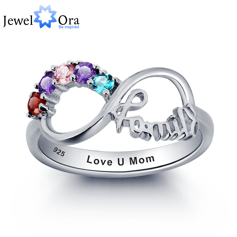 925-Sterling-Silver Ring Cubic-Zirconia Jewelry Birthstone Gift for Mum Engrave