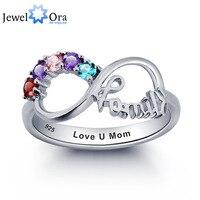 Personalizzato Incisione Birthstone Infinity Gioielli di Famiglia Cubic Zirconia 925 Sterling Silver Ring Regalo Per La Mamma (JewelOra RI101787)