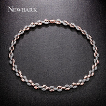 NEWBARK Women Simulated Crystal Plant Wheat Necklace Rose Gold And Silver Color Multicolor Statement Necklace Colar Feminino