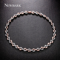 NEWBARK Unique 18K Champagne Gold Plated Matt Mosaic Polished Two Tone Wheat Design Austria Crystal Short