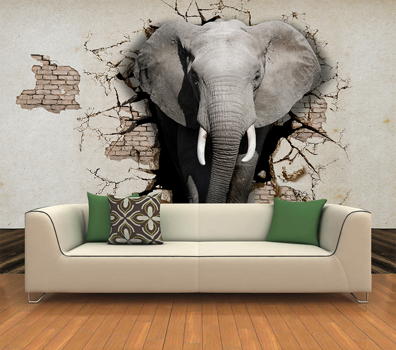 3D Wallpaper Elephant Mural TV Wall Background Wall Living Room Bedroom TV Background Mural Wallpaper For Wall