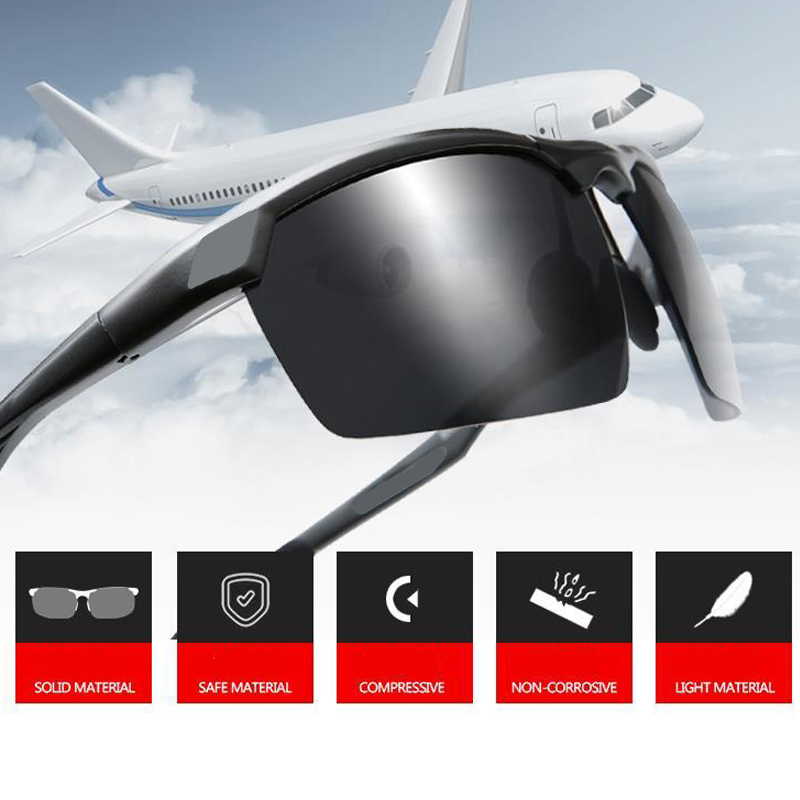 Men Sunglasses Polarized Semi-Rimless Goggle Sport Driving Fishing Eyewear Polaroid Lens Male Glasses