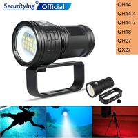 SecurityIng 300W Fitteen 5050 White Light XML2 Six XPE Red R5 Blue R5 LED Spherical Support Underwater 80m Flashlight for Diving