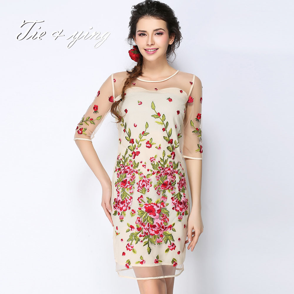 Party dress high quality chiffon o neck half sleeve