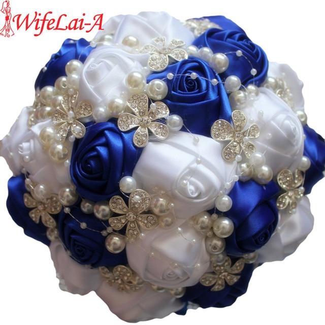 WifeLai A Durable Handmade Royal Blue White Diamond Wedding Bouquet ...