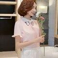 2016 Nueva Primavera Verano Mujer Camisetas de Manga Corta de Gasa Bordado Qing Render Blusa Rosada Blanca Luz Azul 165