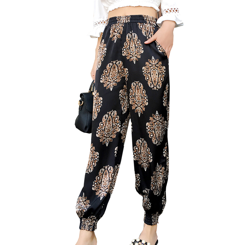 Pantalon Mujer 2018 New Women Bohemian   Pants   Harem   Pants   Loose Summer Print National Wind Trousers Beach   Wide     Leg     Pants
