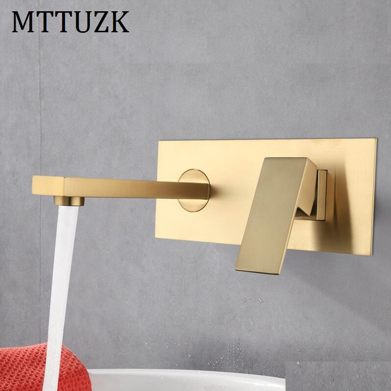 MTTUZK wall-mounted Concealed with pre-embedded box basin faucet  Brass  hot and cold water brushed gold washbasin mixer tapsMTTUZK wall-mounted Concealed with pre-embedded box basin faucet  Brass  hot and cold water brushed gold washbasin mixer taps
