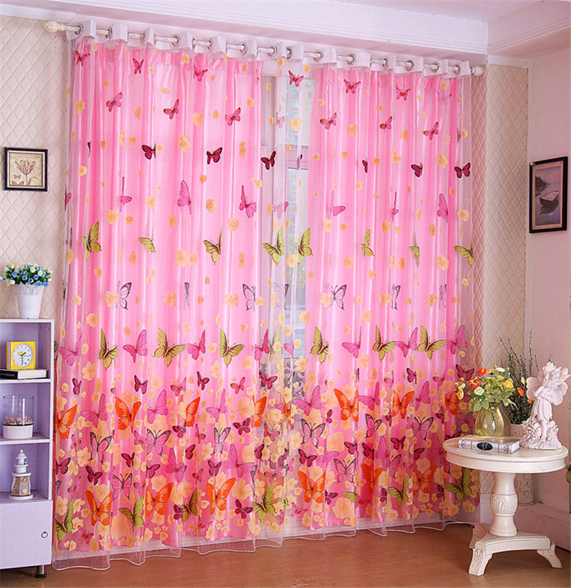 Hot Butterfly Printed Tulle Window Shades Blinds Sheer Voile Tube ...