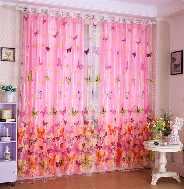 Online Shop Hot Butterfly Printed Tulle Window Shades Blinds Sheer ...