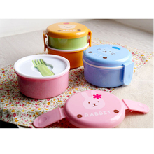 Mini Cartoon Animal Lunch Boxes Japanese Double-Layer Round Case Children Microwave Kitchen Tools