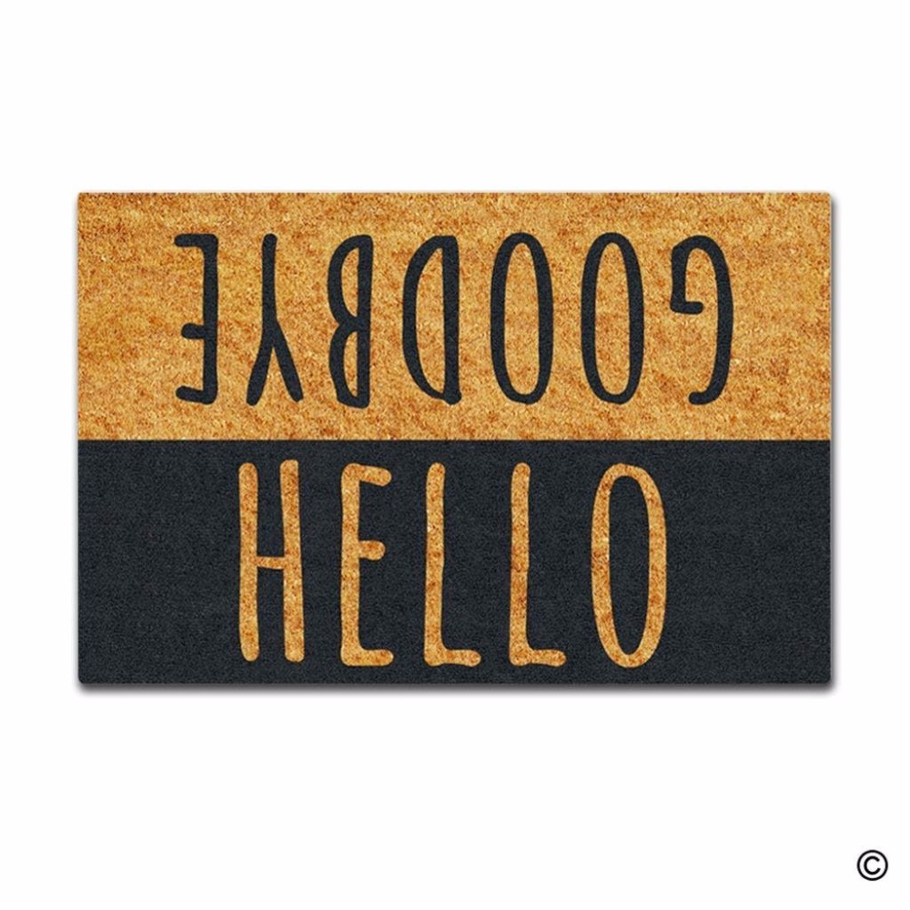 Funny Printed Doormat Entrance Mat Enterways Hello Goodbye Non slip Doormat 23 6 by 15 7 Inch Machine Washable in Mat from Home Garden