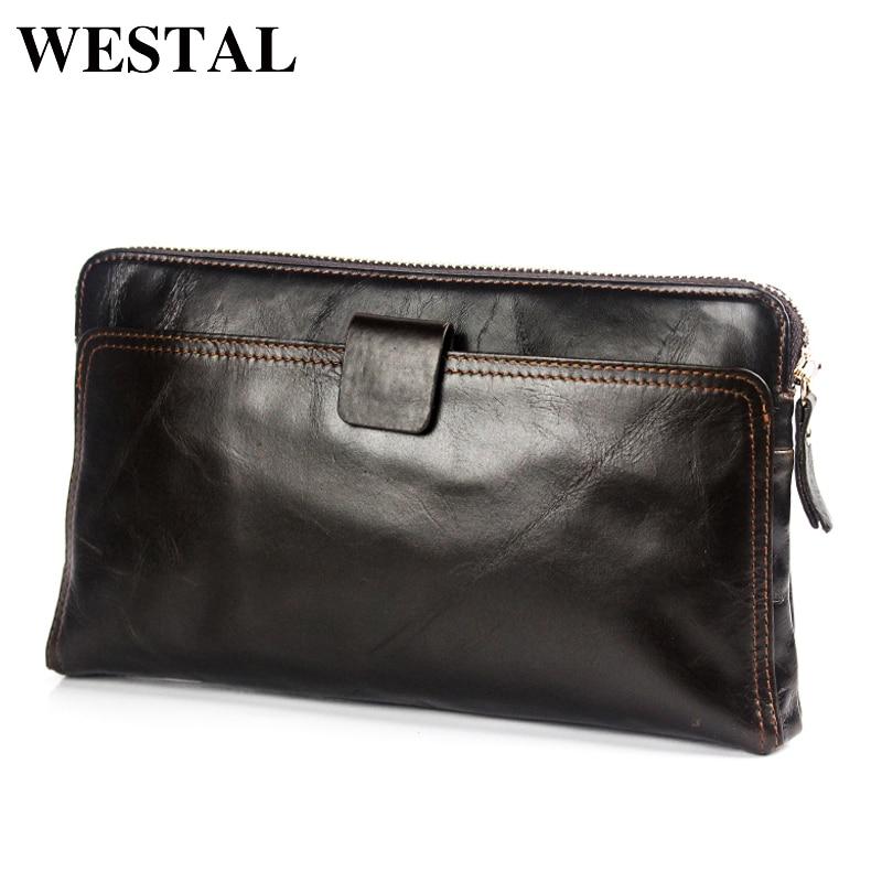 WESTAL Cartera de hombre de cuero genuino de los hombres de carteras para titular de la tarjeta de crédito de embrague hombre bolsas monedero de cuero genuino de los hombres 9041