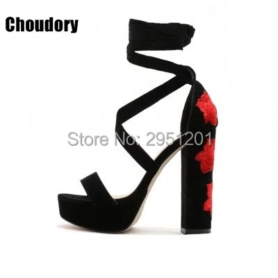 506e5993ee1 Customized 2019 Newest Hot Selling Floral Embroidered Lace Up Chunky Heels  Black Suede Platform Sandals Red Flowers Heel Sandals