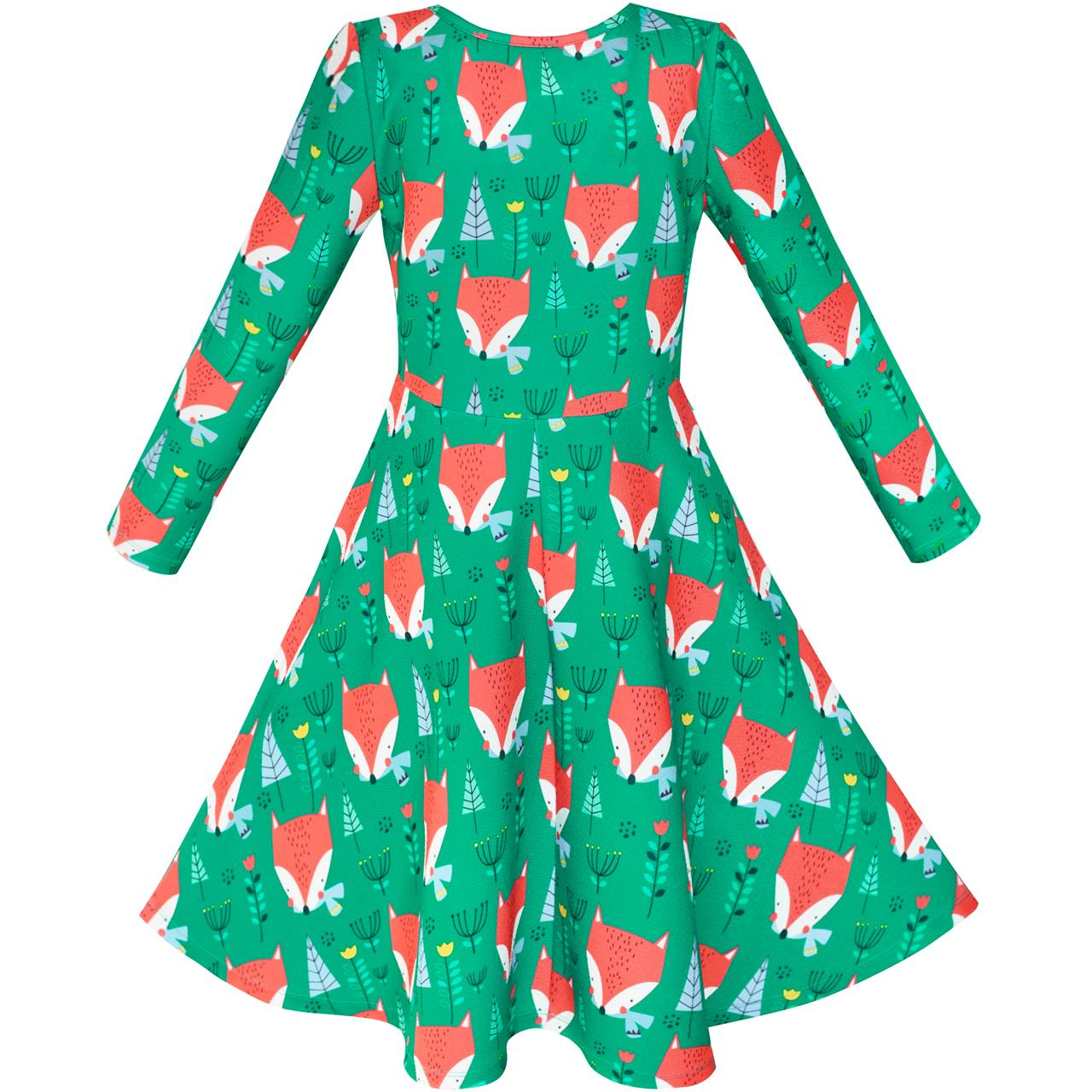 Girls Dress Green Forest Red Fox Long Sleeve Sundress 2018 Summer ...