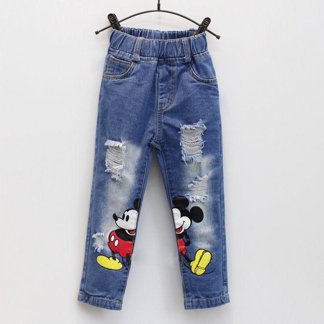Muchachos de la manera Muchachas de Mickey pantalones vaqueros niños Distrressed Del dril de algodón pantalones casual pantalones para niñas niños pantalones vaqueros chicos Otoño