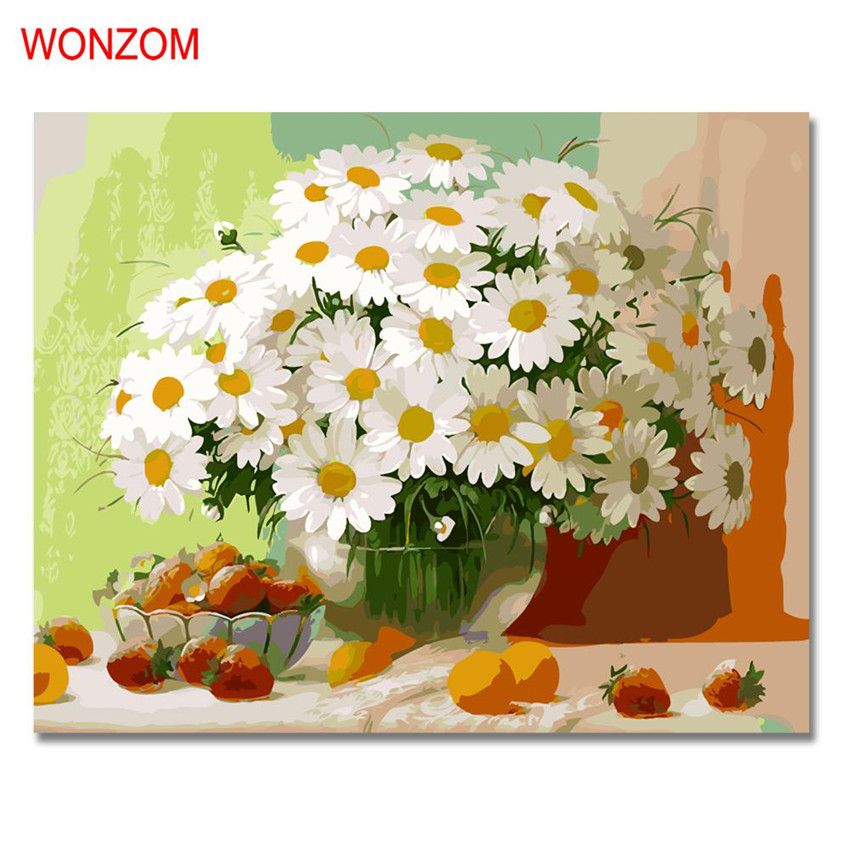 Chrysanthemum Painting By Numbers Modern Fruits Picture Wall Art Picture DIY Hand Painted Flower Canvas Coloring Home Decor Gift in Painting Calligraphy from Home Garden