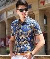 Camisa camisas masculinas para la boda formales del partido de baile flor de la impresión del muchacho de moda bailarín del cantante novio bar show