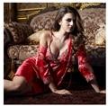 2016 caliente mujeres duermen conjunto de salón pijama pijama de satén ropa de dormir para las mujeres pijamas camisón lindo atractivo de la alta calidad 2 unids conjuntos
