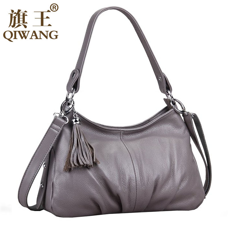 QIWANG Brand Fashion Woman Bag Small Ruched Shoulder Bag Luxury Leather Hobo Small Handbag Long Strap Cross body Tassel Bag forudesigns candy color small handle bag woman casual handbag for girls luxury woman s leather handbags ladies cross body bolsas