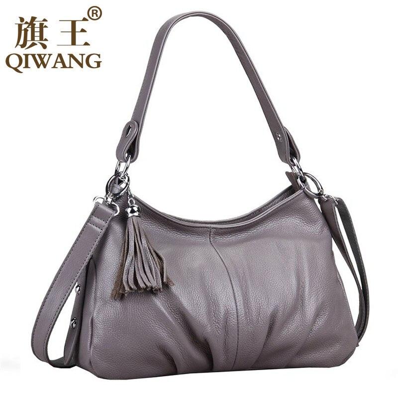 QIWANG Brand Fashion Woman Bag Small Ruched Shoulder Bag Luxury Leather Hobo Small Handbag Long Strap Cross body Tassel Bag