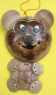 Coconut Shell Carving  Handicraft Micky, 2pcs /lot, Valentine /Easter gift,Best selling
