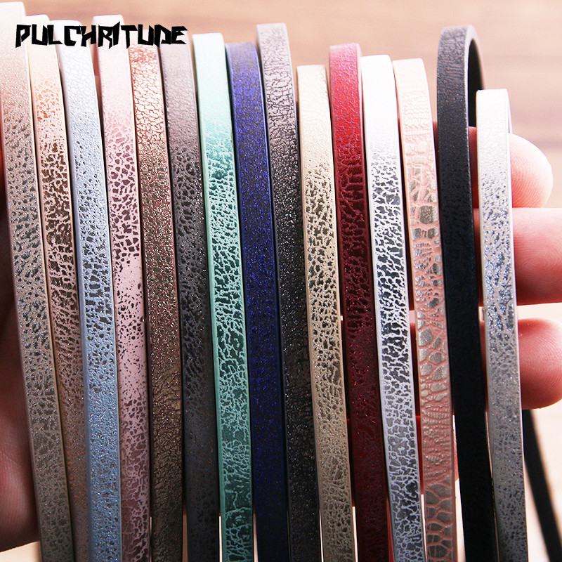 1 Root 1Meter X 5mm Flat PU Leather Cord & Rope Diy Jewelry Findings Accessories Fashion Jewelry Making Material For Bracelet