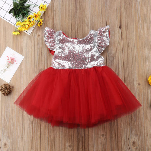 4e7e2ff46 UK Stock Sequin Baby Girls Dresses Kids Prom Pageant Party Formal ...