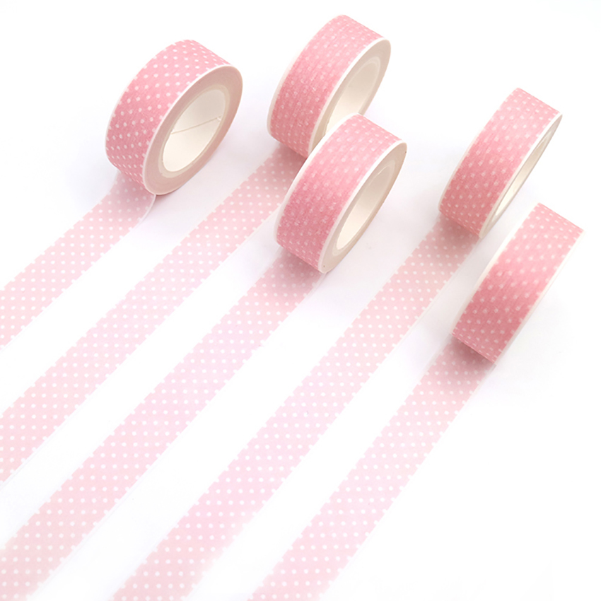 1 PCS Pink Washi Tape DIY Masking Tape Decoration Scrapbooking Adhesive Tape Kawaii Stationery 15mm*10m 10m 15mm creative colored dots washi tape diy decoration scrapbooking planner masking tape kawaii stationery adhesive tape 1 pcs