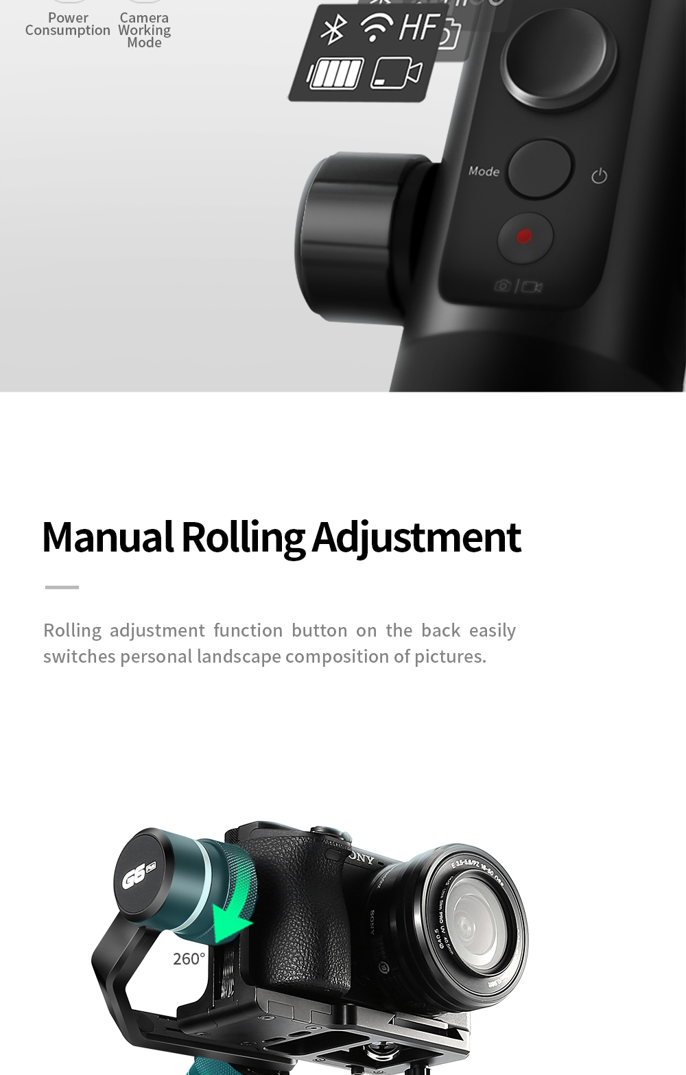 FeiyuTech G6 Plus 3-Axis Handheld Gimbal Stabilizer for Mirrorless Camera Pocket Camera GoPro Smartphone Payload 800g Feiyu G6P 7